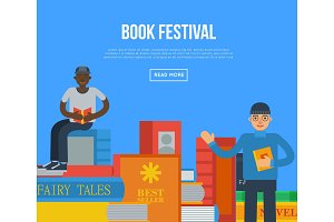 Book festival poster with people reading books