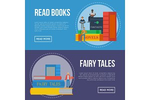 Fairy tales flyers with people reading books