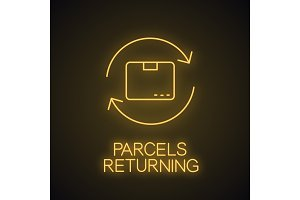 Parcel return service neon light icon