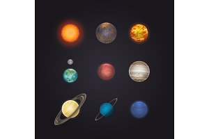Sun and solar system planets infographic