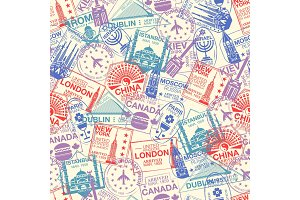 Seamless pattern with world visa rubber stamps