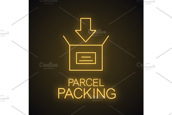 Parcel Packing Neon Light Icon