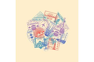 World visa rubber stamps collection