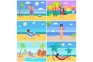 Business People on Summer Vacation Posters Set