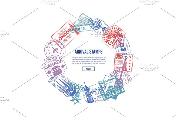 Arrival Stamps Banner With World Visa Rubber Signs
