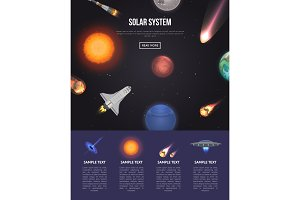 Solar system banner with cosmic elements