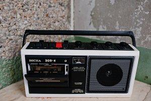 Vintage USSR cassette tape recorder
