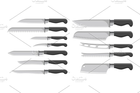 Knives Collection Kitchenware Vector Illustration