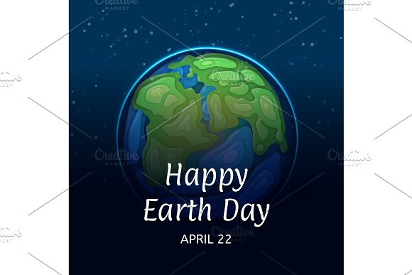 Happy Earth Day Poster With Globe