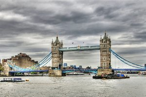 Cloudy day in London. bridge, Thames