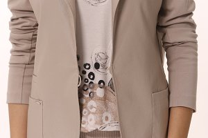 cut photo of beige official suit skirt and jacket on business woman