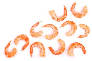 Red cooked prawn or shrimp isolated on white background with copy space for your text. Top view. Flat lay
