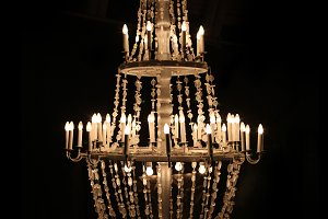 chandelier in dark