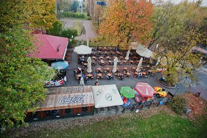 Aerial view of street bar
