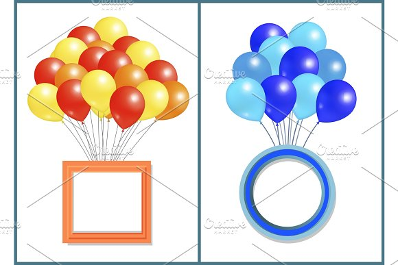 Balloons Big Bundle With Round And Square Frame
