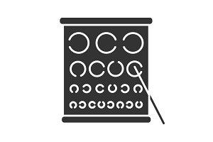 Eye exam chart glyph icon