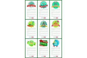 Seasonal Discount Sale Labels Tropical Vector Web