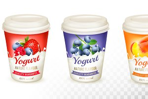 Set of yogurt with fruit and berries