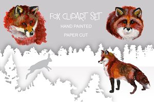 Fox art set. Paper cut