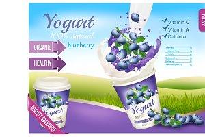 Fruit yogurt with berries template
