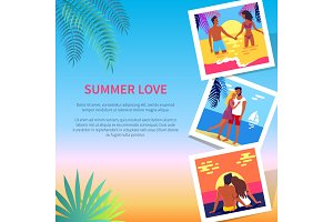 Summer Love Poster with Photos of Lovely Couple