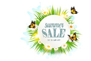 Summer sale background with grass