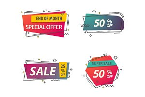 Linear or geometric tags for discounts.