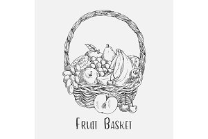 Wicker basket or ped sketch with garden fruit food