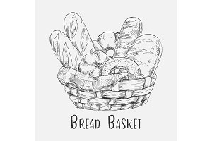 Sketch of pastry and bakery, bread in basket