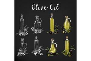 Sketches of glassware olive oil bottles
