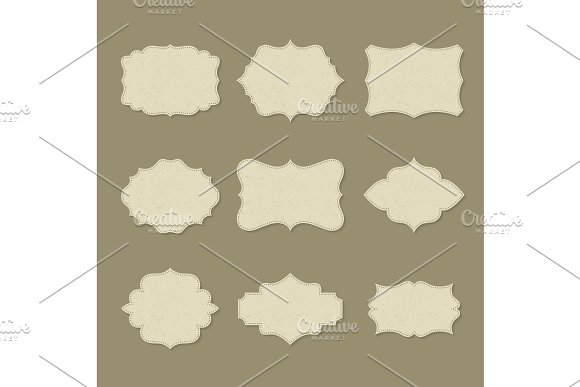 Set Of Isolated Retro Blank Labels Or Empty Logo