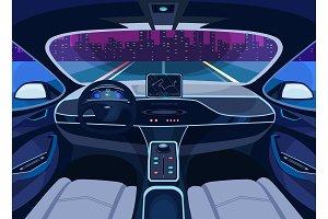 Futuristic car salon with GPS, autopilot vehicle