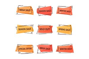 Set of isolated tags for clearance sale