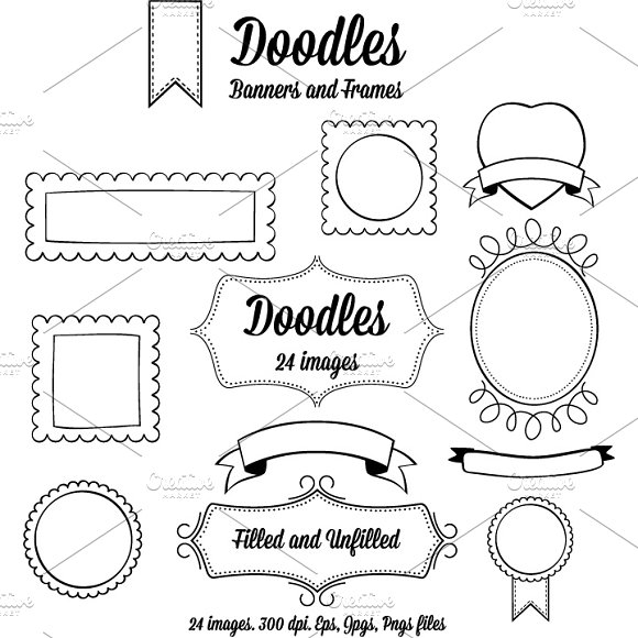 Doodle Banners and Frames. ~ Graphic Objects ~ Creative Market