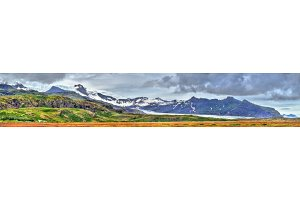 Panorama of Vatnajokull glacier and mountains, Iceland