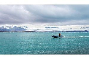 Boat in Jokulsarlon glacier lagoon - Iceland