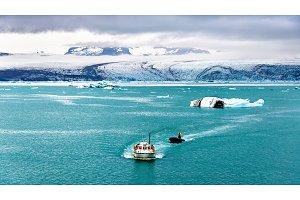 Boats in Jokulsarlon glacier lagoon - Iceland