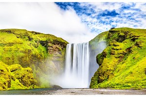 View of Skogafoss waterfall on the Skoga River - Iceland