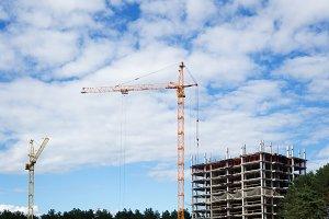 two high-rise crane
