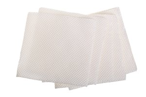 paper napkin isolated on white background, top view