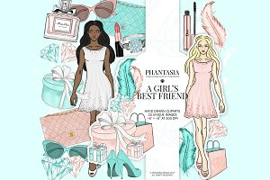 Fashion Girl Watercolor Clipart