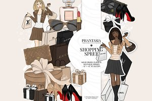 Shopping Girl Watercolor Clipart