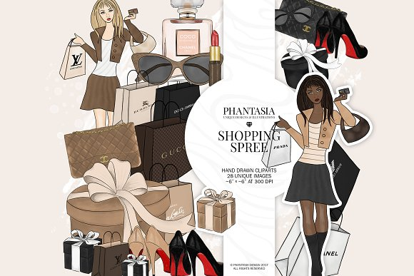 Shopping Girl Watercolor Clipart