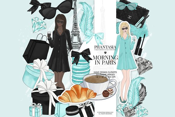 Paris Fashion Watercolor Clipart