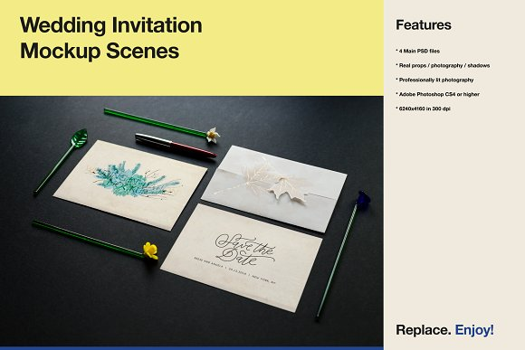 Wedding Invitation Mockup Scenes
