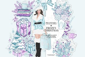 Frozen Christmas Watercolor Clipart