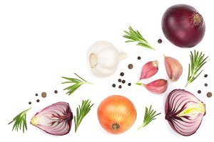 red onions, garlic with rosemary and peppercorns isolated on a white background with copy space for your text. Top view