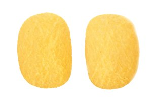 tw potato chips on white background close-up. Top view. Flat lay