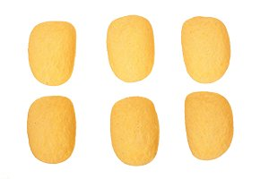 potato chips on white background close-up. Top view. Flat lay. Set or collection