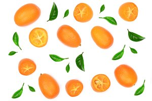 Cumquat or kumquat with half isolated on white background. Top view. Flat lay pattern